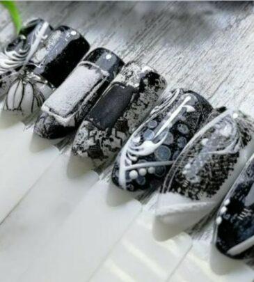 Черно белый дизайн ногтей